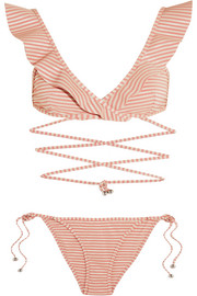 Caravan ruffled striped bikini