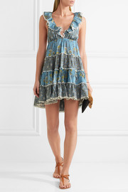 Caravan ruffled floral-print cotton mini dress