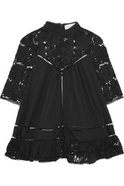 Zimmermann Caravan guipure lace-paneled embroidered cotton-voile top