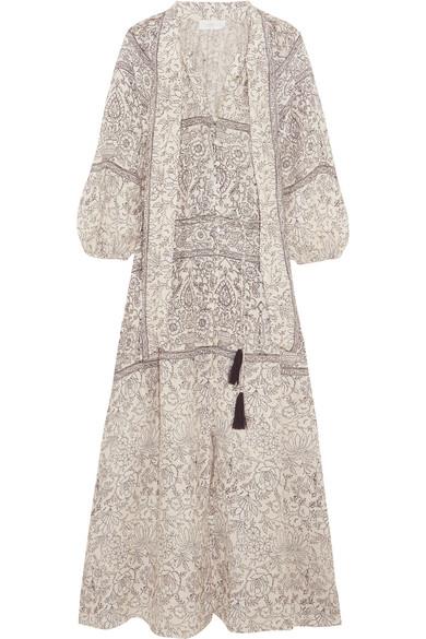 Zimmermann - Caravan Pussy-bow Printed Linen Dress - Stone