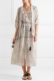 Zimmermann Caravan pussy-bow printed linen dress
