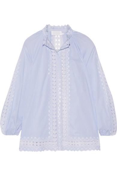 zimmermann female zimmermann caravan crochettrimmed striped cottonvoile blouse sky blue