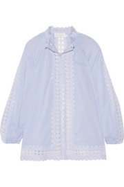 Caravan crochet-trimmed striped cotton-voile blouse