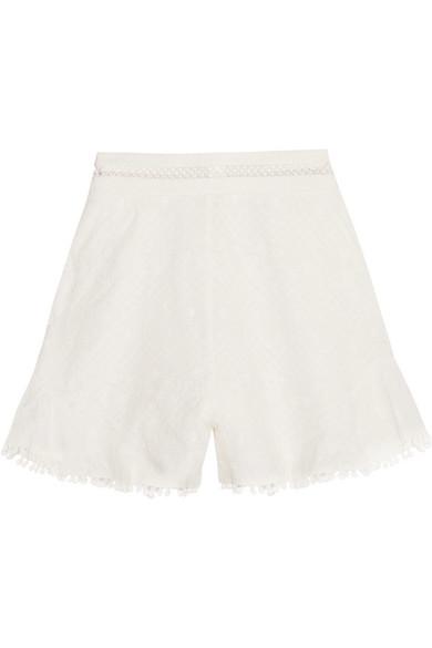 zimmermann female zimmermann caravan pompomtrimmed broderie anglaise cotton shorts white