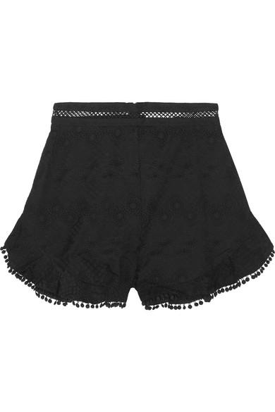 zimmermann female zimmermann caravan pompomtrimmed broderie anglaise cotton shorts black