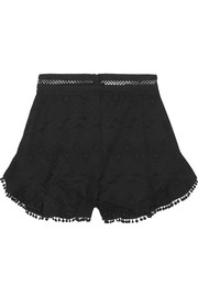 Zimmermann Caravan pompom-trimmed broderie anglaise cotton shorts