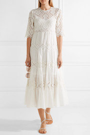 Zimmermann Oleander diamond lace cotton-voile dress