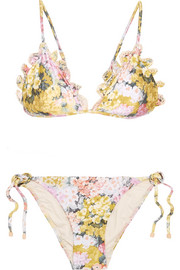 Zimmermann Valour embroidered floral-print triangle bikini