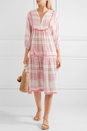 Zimmermann Valour tasseled striped cotton-blend midi dress