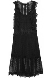 Oleander lattice and lace-trimmed Swiss-dot silk-georgette dress