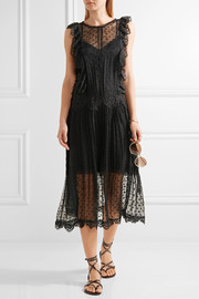 Zimmermann Oleander lattice and lace-trimmed Swiss-dot silk-georgette dress