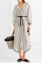 Zimmermann Aerial tasseled striped cotton-voile dress