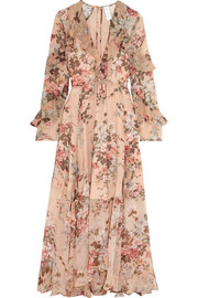 Aerial ruffled floral-print silk-georgette dress
