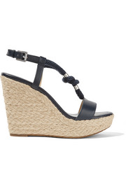 Holly rope-trimmed leather wedge sandals