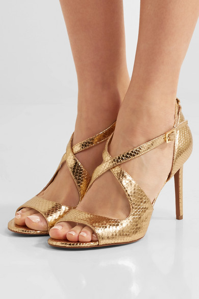 michael michael kors estee metallic snake effect leather sandals net a porter com. Black Bedroom Furniture Sets. Home Design Ideas