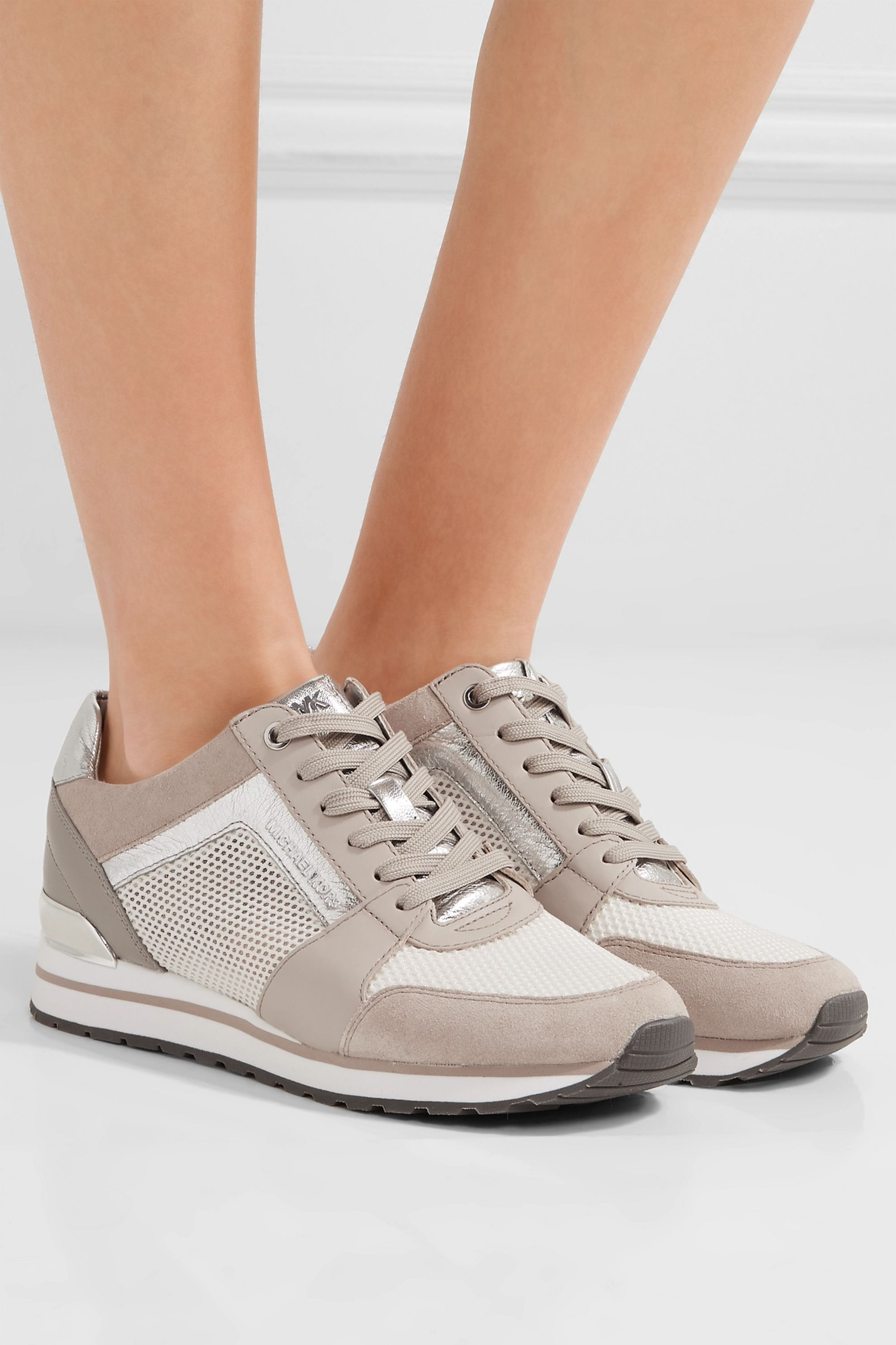 Beige Billie leather and suede-trimmed