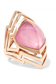 Lady Stardust 18-karat rose gold, quartz and opal ring