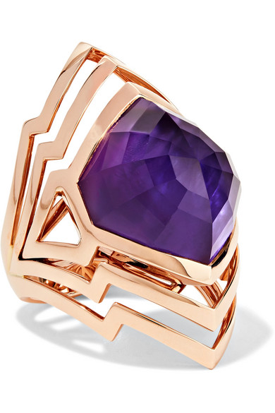 Stephen Webster - Lady Stardust 18-karat Rose Gold, Amethyst And Mother-of-pearl Ring - 7
