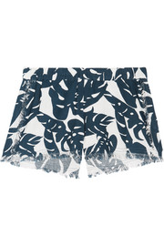 Kona frayed printed cotton shorts