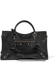 Classic City croc-effect leather tote