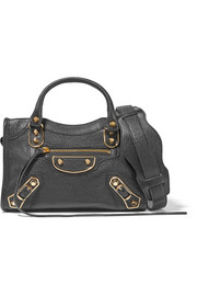 City Metallic Edge mini textured-leather tote