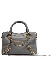 Balenciaga Metallic Edge City mini textured-leather tote