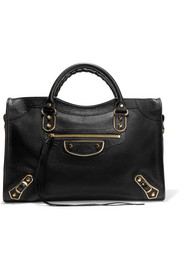 Metallic Edge City textured-leather tote