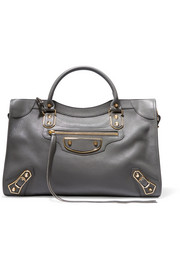 Balenciaga Metallic Edge City textured-leather tote
