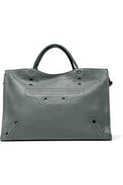 Balenciaga Blackout City L perforated matte-leather tote
