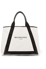 Balenciaga Navy Cabas medium leather-trimmed canvas tote