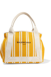 Balenciaga Navy Cabas leather-trimmed striped canvas tote