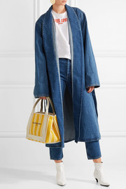 Navy Cabas leather-trimmed striped canvas tote