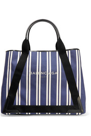 Cabas leather-trimmed striped canvas tote