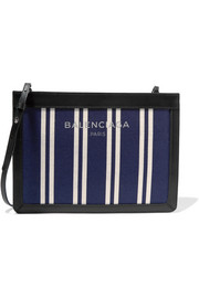 Balenciaga Leather-trimmed striped canvas shoulder bag