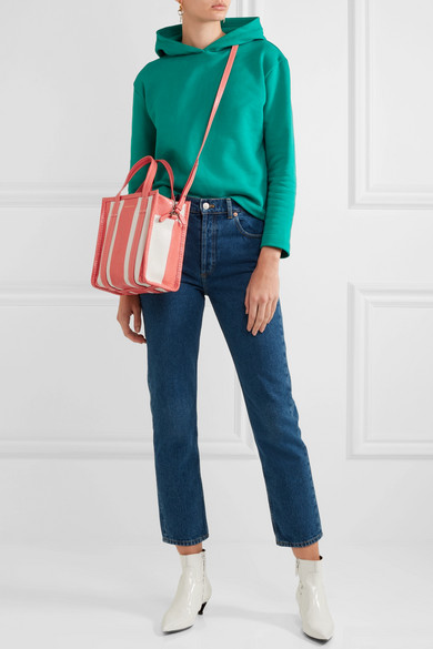 2a493eed3 Balenciaga | Bazar small striped textured-leather tote | NET-A ...
