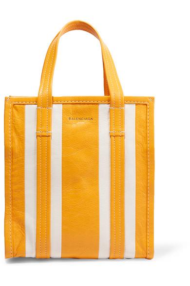 Balenciaga - Bazar Striped Textured-leather Tote - Yellow