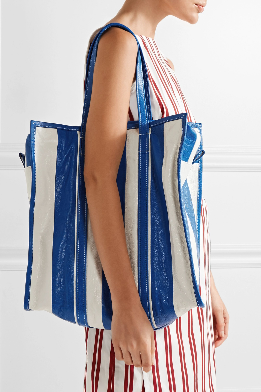 Balenciaga Bazar large striped textured-leather tote