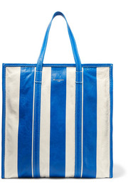 Balenciaga Bazar large striped textured-leather tote