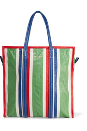 Bazar striped textured-leather tote