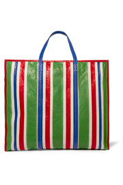 Balenciaga Bazar striped textured-leather shopper