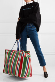 Bazar XL striped textured-leather shopper