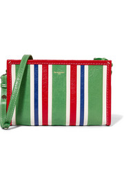 Balenciaga Bazar striped textured-leather shoulder bag