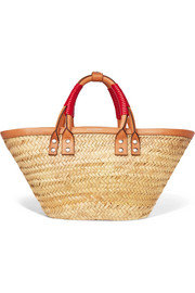 Bistrot Panier leather-trimmed woven raffia tote
