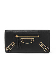 Balenciaga Metallic Edge textured-leather wallet