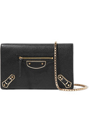 Balenciaga Metallic Edge Chain textured-leather wallet