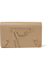 Balenciaga Metallic Edge textured-leather shoulder bag