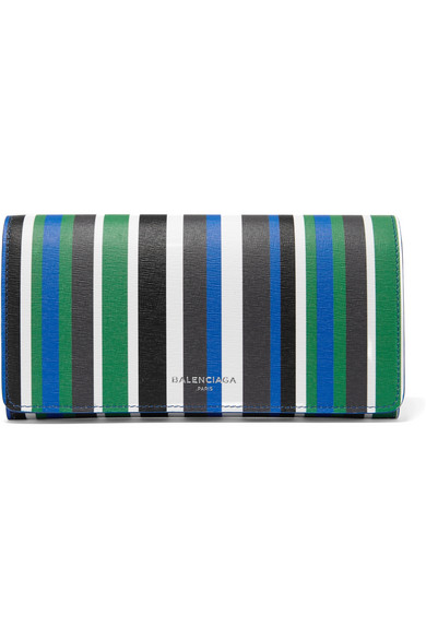 Balenciaga - Striped Textured-leather Wallet - Blue