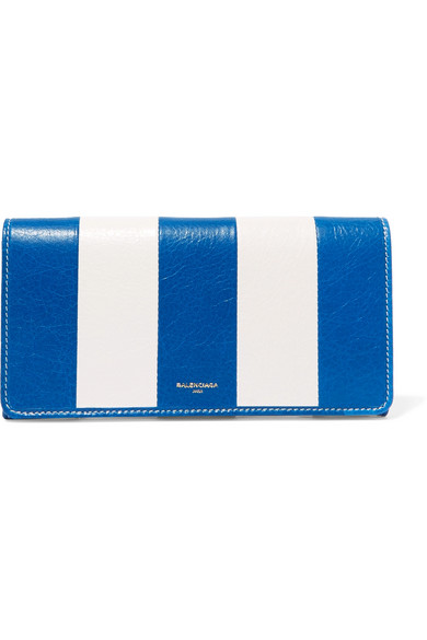 balenciaga female balenciaga striped texturedleather wallet blue