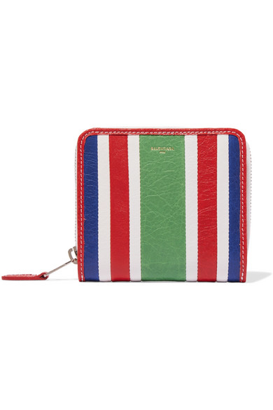 balenciaga female balenciaga striped texturedleather wallet green