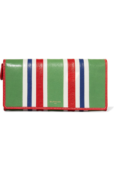 Balenciaga - Striped Textured-leather Wallet - Green